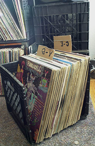 Records in a milkcrate