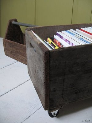 Wooden Crate magazine rack