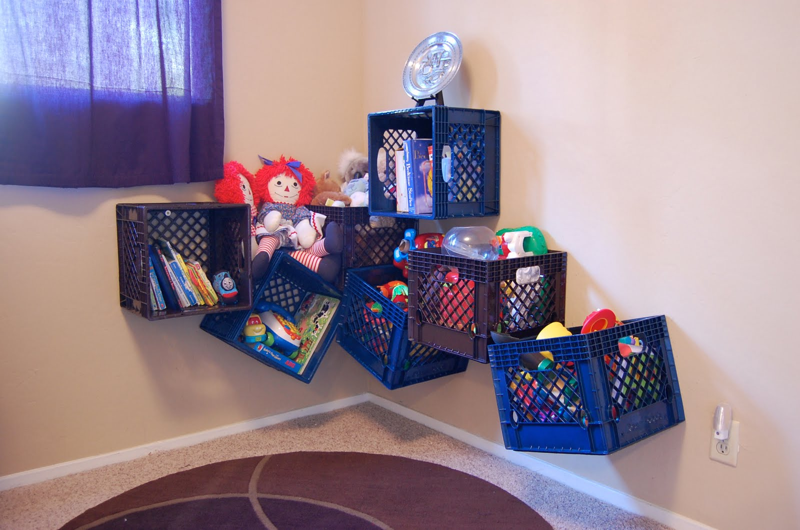 Milkcrate digest storage for Kids room toy storage